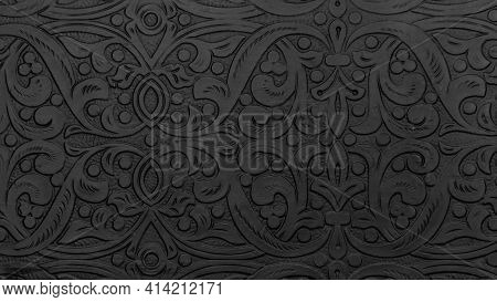 Textured Black Metal Backdrop With Ancient Oriental Floral Wavy Ornament. Background Floral Carved S