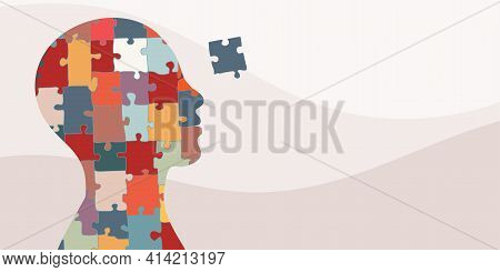 Banner. Autism Syndrome Concept. Jigsaw That Forms Human Head In Profile. Learning Support And Educa
