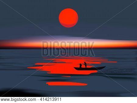 Colorful Asian Sunset Balinese Landmarks Panoramic View, Vector Illustration. Bali, And Fishing Boat