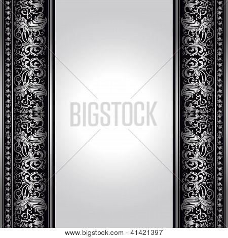 Vintage, Elegant Background, Antique, Victorian Silver, Floral Ornament, Baroque Frame, Beautiful