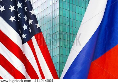 Flag Of Usa And Russia Flag Close-up. The Concept Of Political And Economic Relations Of States. San