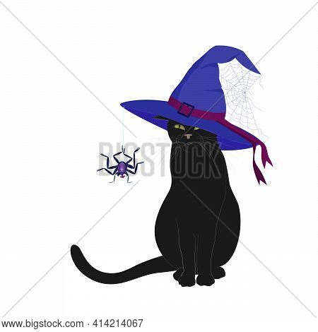 Black Cat In Blue Witch Hat With Spider Web And Hanging Spider Isolated On White Background. An Imag