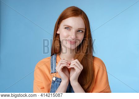 Devious Tricky Young Girl Have Excellent Plan Smirking Delighted Mysteriously Look Upper Left Corner