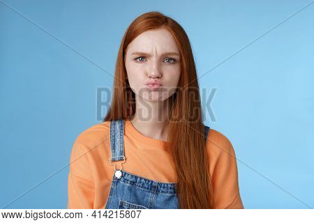 Moody Displeased Clingy Girlfriend Redhead Blue Eyes Pouting Sulking Upset Offended Frowning Making