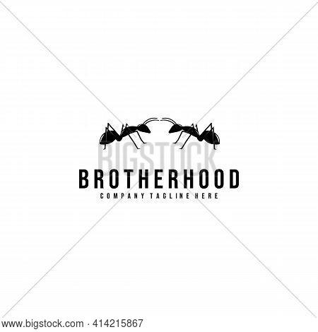 Brotherhood Logo Vector Illustration Design Minimalist Line Art Isolated Simple Symbol Icon Template
