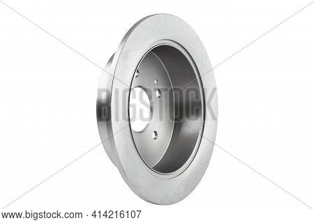 Rear Disc Brake Disc And Hand Drum Brake Alloy Steel Gray, Spare Car Part Isolated On White Backgrou