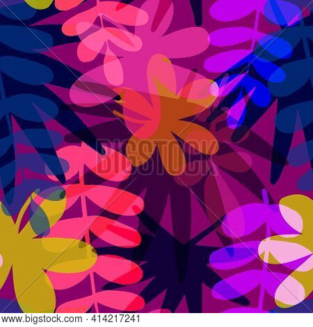 Seamless Pattern With Drawn Tropical Leaves, Colorful Artistic Botanical Illustration. Floral Backgr