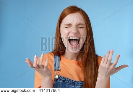 Pissed Outraged Moody Redhead Girl Shouting Complaining Angry Standing Bothered Screaming Out Loud C