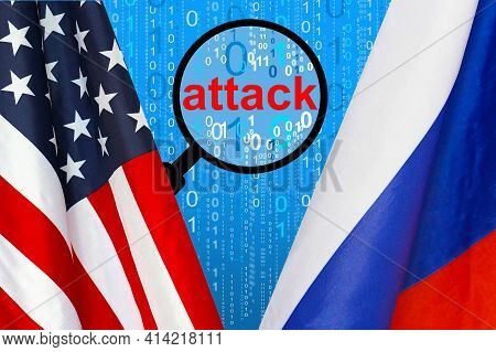 Flag Of Usa And Russia Flag Against The Background Of A Binary Code With Magnifying Glass. Russian H