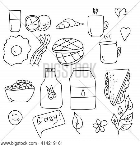 Breakfast Doodles Set, Popular Breakfast Food And Some Utensils, Drinks And Food Items For Morning M