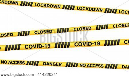 Set Of Covid-19 Related Yellow And Black Barrier Tapes Isolated On White Vector Illustration