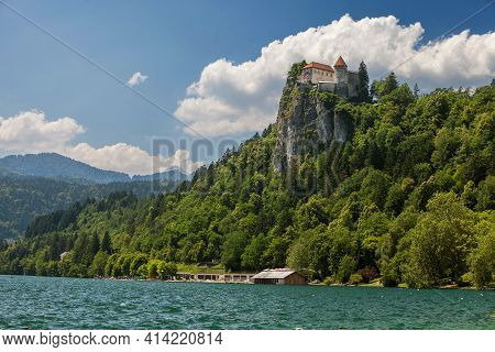 View Of Bled Castle On A Cliff Over Bled Lake. Slovenia