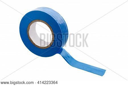 Insulating Tape Isolated On White Background. Roll Of Blue Plastic Duct Tape.