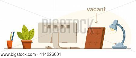 Work Desk Flat Illustration Isolated Over White, Office Or Home Working Place Vector Modern Illustra