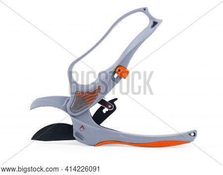 Green Garden Secateurs Isolated On White Background, Top View