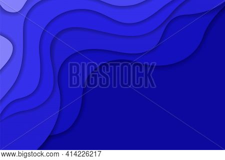 Abstract Light And Dark Deep Blue Wavy Shapes Paper Cut Background With Empty Place For Text. Elegan