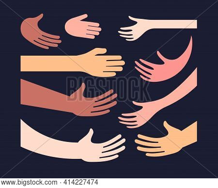 Hand And Palm Different Color Skin Icon Set Handshake Greetings Hugs. Humans Hands And Arms Of Diffe