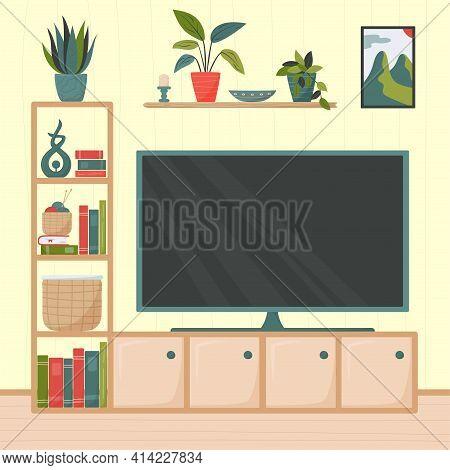 Cozy Apartment. Cute Minimalistic Interior. Flat-screen Tv, Shelving, Houseplants And Accessories. F