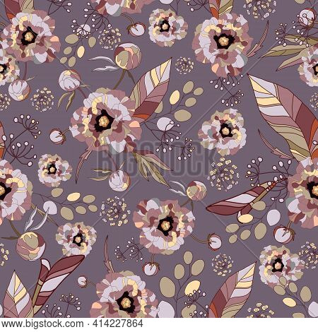 Vintage Floral Background. Elegance Seamless Pattern With Watercolor Flower Peony, Roses, Eucalyptus