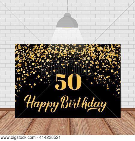 Happy 50th Birthday Handwritten Celebration Banner. Black And Gold Confetti Birthday Or Anniversary