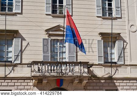 Bellinzona, Ticino, Switzerland - 23rd March 2021 : Front View Of The Government Building Also Know