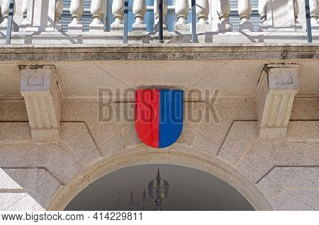 Coat Of Arms Of Ticino Canton Hanging At The Entrance Of Government Building Also Know As Palazzo De