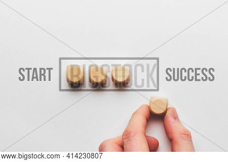 Success Path Concept With Wooden Cubes Loading Bar.