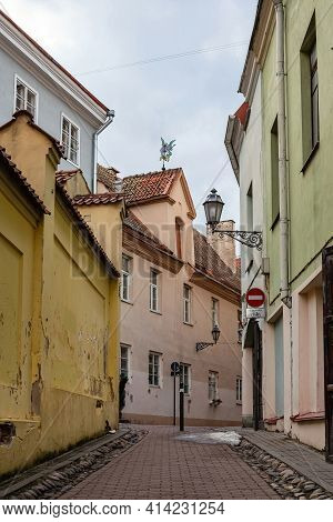 Vilnius, Lithuania - March 14, 2021: Picturesque Street Of Vilnius Old Town - Literatu Street. Vilni