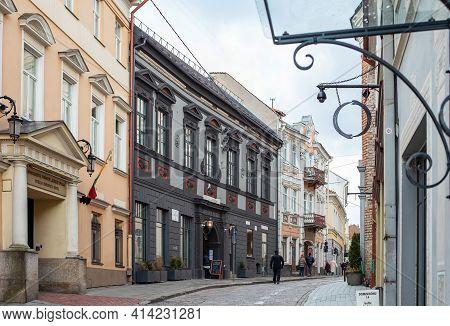 Vilnius, Lithuania - March 14, 2021: Picturesque Street Of Vilnius Old Town - Dominikonu Street. Vil