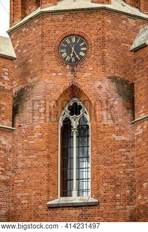 Ornate Window And Clock On The Wall Of  Church Of St Matthew The Apostle In Nepriklausomybes Square