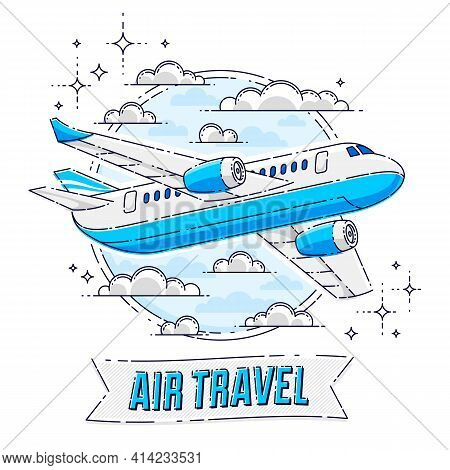 Airlines Air Travel Emblem Or Illustration With Plane Airliner, Round Shape And Ribbon With Typing.