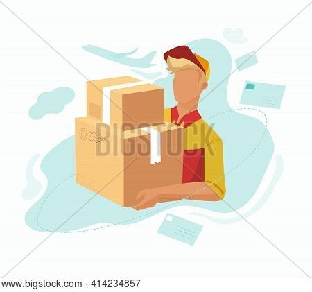 The Postman Is Holding Two Parcels. Delivering Parcels Home.