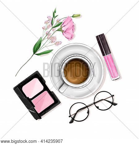 Stylish Flat Lay Set With Coffee Cup, Cosmetics, Eyeglasses And Flower.