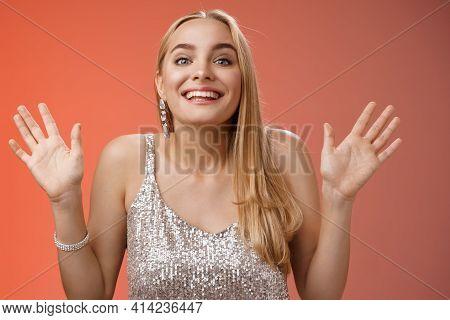 Happy Elegant Dreamy Glamour Young Blond Woman Raising Hands Delight Joyfully Smiling Camera Glad Se