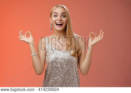 Excited Carefree Happy Stress-free Charming Blond European Woman Calm Feelings Under Control Show Ze