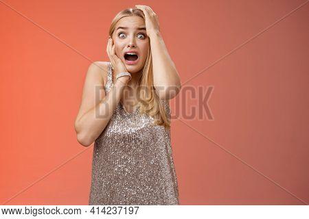 Shocked Terrified Blond Woman Horrified See Crime Screaming Pop Eyes Shouting Hold Hands Head Afraid