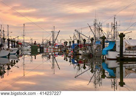 Richmond, British Columbia, Canada - January 10, 2018. Fisherman's Wharf Steveston