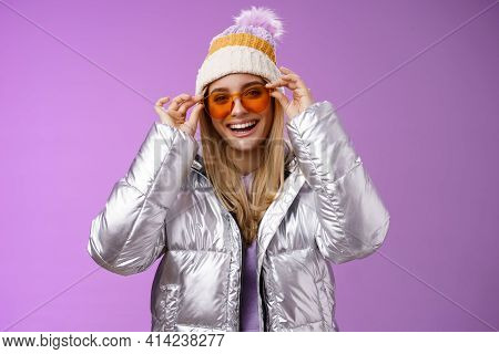 Good-looking Charming Happy Smiling Blond Girlfriend Having Fun Vacation Girlfriends Put On Sunglass