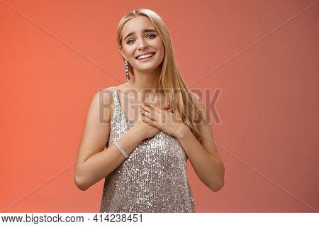 Touched Delighted Charming Blond Woman Receive Heartwarming Pleasant Gift Smiling Glad Press Palms H