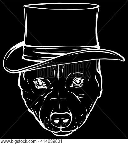 White Silhouette Of Pitbull Dog With Hat On Black Background