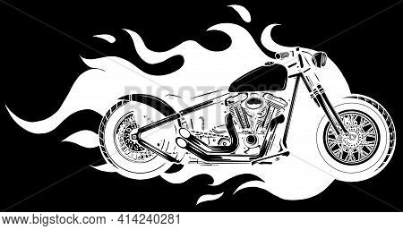 White Silhouette Of Burning Motorcycle Engulfed In Fierce Fiery Flames And Fire Exploding Sparks