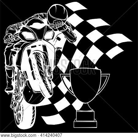 White Silhouette Of Riders On Sport Motorbike With Cup And Race Flag