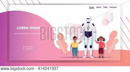 Modern Robot Nanny Walking With Children Artificial Intelligence Technology Babysitter Concept Horiz