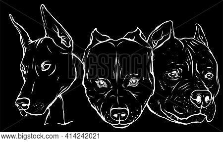 White Silhouette Of Heads Of Dogs Pitbull Dobermann Bulldog Vector