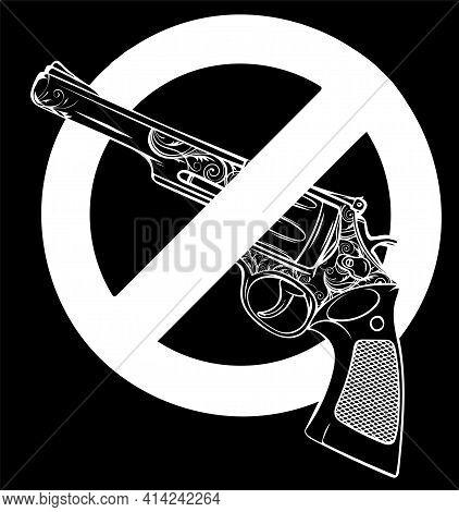 White Silhouette Of Symbol No Gun On White Background Vector Illustration