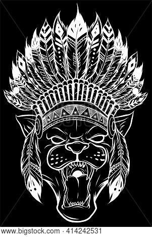 White Silhouette Of Panther With Native American Indian Chief Headdress.