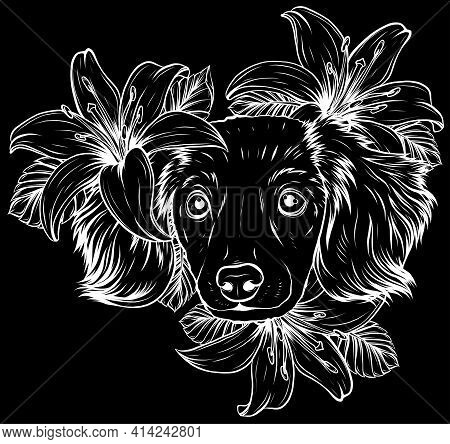 White Silhouette Of A Spaniel Dog In A Flower Head Wreath. Vector Illustration.