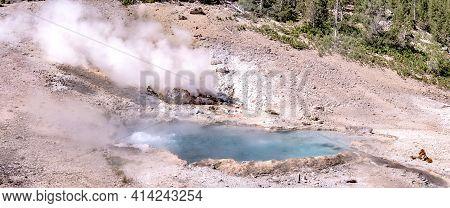 Mammoth Springs Scenery At Yellostone In Wyoming