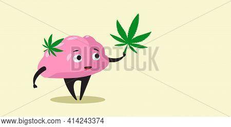 Human Brain Holding Marijuana Leaf Ganja Legalize Drug Consumption Cannabis Addiction Concept Horizo