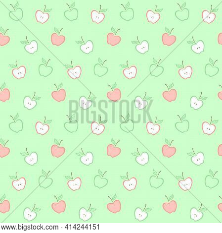 Decorative Red And Green Apples With A Leaf On A Green Background. Fruit. Vector Seamless Pattern Fo